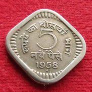 India 5 Paise 1958 B KM# 16 Inde Indien Indies - Inde