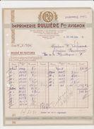 Facture Imprimerie Rullière Fre/Avignon Relevé De Factures De 1934 - Printing & Stationeries