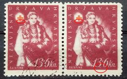 RED CROSS-13+6 K-PAIR-NATIONAL COSTUMES-ŠESTINE-ERROR-LINE-NDH-CROATIA-1942 - Red Cross