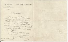 VIBRAYE SARTHE A BEURY NOTAIRE ANNEE 1890 PETITE LETTRE DOUBLE - France