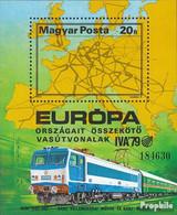 Ungarn Block137A (kompl.Ausg.) Postfrisch 1979 Entwicklung Der Eisenbahn - Blocks & Kleinbögen