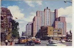 MONTREAL QUEBEC DORCHESTER STREET SHOWING BUS TERMINUS LAURENTIEN HOTEL  1958 - Montreal