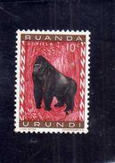 RUANDA URUNDI 1959 1961 FAUNA GORILLA ANIMALS SCIMPANZE' ANIMALI CENT. 10 C MH - Ruanda