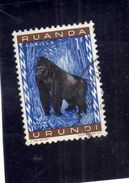 RUANDA URUNDI 1959 1961 FAUNA GORILLA ANIMALS SCIMPANZE' ANIMALI 1F USATO USED OBLITERE' - Ruanda