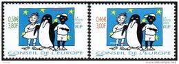 France - Timbre De Service N° 122 Et 123 ** Conseil De L'Europe 2001; Je Suis Noir, Je Suis Blanc, Je Suis Noir Et Blanc - Neufs