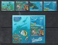 VANUATU N°1021 A 1024 N* Et BLOC FEUILLET N°28 N*  Faune Marine, Poissons, Trésor, Plongée - Vanuatu (1980-...)
