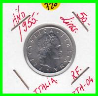 ITALIA - MONEDA DE 50 LIRAS -AÑO 1955  REPUBLICA ITALIA - 1946-… : República