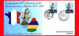 MAURITIUS - 2014 - 2015 - 300 Anni Dell'arrivo Dei Francesi - French Landing In Mauritius - Busta - Navi - Velieri - Mauritius (1968-...)