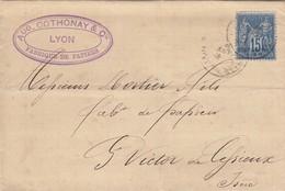 FRANCE - LETTRE  1881 AUG. COTHONAY FABRIQUE DE PAPIERS LYON POUR ST VICTOR DE CESSIEUX ISERE / 3 - Marcofilia (sobres)