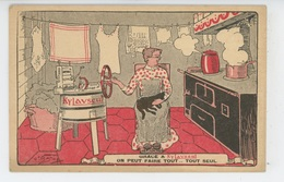 """PUBLICITE - Jolie Carte Fantaisie Femme Dans Cuisine Avec Chat Sur Les Genoux , Carte PUB Pour """"KYLAVSEUL """" à BAGNOLET - Publicité"""