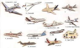 Avions De Ligne_Lot De 2 Pin's Au Choix_DC 3_Concorde_Airbus_Ait Inter_Corsair_ATR - Airplanes