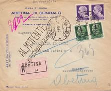 1944 R.S.I. Raccomandata Da ABETINA  Per MILANO Con Imperiali Da1 L. E Coppia 25c Sovrastampati Al Verso Bolli 019 - 1900-44 Vittorio Emanuele III