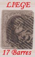 RéfP. 125 - Belgique - 1858 - Obl. - COB 10 - 73 Liège - 17 Barres  - - 1858-1862 Medallions (9/12)