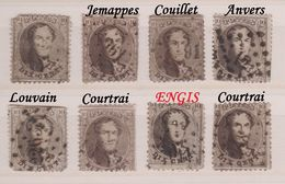 RéfP. 111 - Belgique - 1863 - Obl. - COB 14 - Médaillons Dentelés - 8 Pcs - 1863-1864 Medallions (13/16)