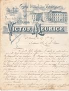 Belgique - St Trond - Grand Hotel Des Voyageurs Place De La Station, Victor MEURICE Proptaire, Lettre Illustrée De 1907 - Belgique