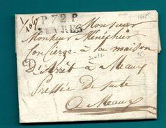 Seine Et Oise - Sèvres Pour Le Concierge De La Maison D'Arrêt à Meaux. LAC De 1825 - Postmark Collection (Covers)
