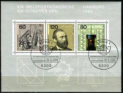 BRD - Michel Block 19 = 1215 / 1217 - OO Gestempelt (5300) - Weltpostkongreß - Gebraucht