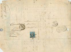LETTRE  Napoléon 20c Bleu N22 De Paris  Oblit. étoile 7 à Limoux 1867 2 Scans - Marcophilie (Lettres)