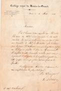 PARIS 1841 - COLLÈGE ROYAL De LOUIS-le-GRAND - Lettre Du Proviseur - ÉLÈVE DU GOUVERNEMENT - Documents Historiques