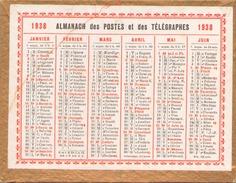 CALENDRIER DES POSTES ET TELEGRAPHES 1938 - Calendari