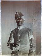 Militaire, N°1 Sur Le Col: Plaque De Verre - Plaques De Verre