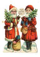 Ensemble De 2 Chromos Découpi Gaufré, Père Noel, M & S, Weihnachten, Sapin, Hauteur: Env.: 8,5 Cm - Motiv 'Weihnachten'