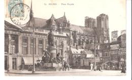 Reims (Marne)-1905-Place Royale-Pub.Elie Sigaut,Pains D'Epices,Biscuits...Statue De Louis XV-animéee - Reims