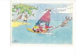 18371 -  Père Noël En Surf Aquarelle Michel Aeroflynn - Santa Claus