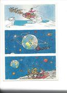 18372 -  Père Noël En  Traineau Autour De La Terre Aquarelle Michel Aeroflynn - Santa Claus