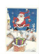 18375 -  Père Noël En Dessus Du Village Aquarelle Michel Aeroflynn - Santa Claus