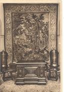 PARFUMERIE MOLINARD - TAPISSERIE + COFFRE CHENE SCULPTE + 2 RESERVES D'EAU CUIVREES . ECRITE LE 1-5-1953 AU VERSO - Grasse