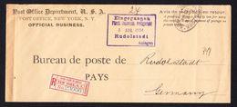 DR Einschreiben 1904 Rücksendekouvert Für Rückscheine USA Rudolstadt L454 - Lettres & Documents
