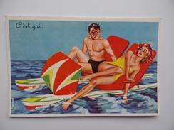 """COUPLE """"C'EST GAI"""" Carte Fantaisie Humour Humoristique N° 493 Illustrateur CARRIERE Pédalo Plage - Carrière, Louis"""