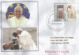 Pape François. Basilica Di San Paolo Fuori Le Mura. Roma, Sur Lettre Adressée En Espagne (Timbre Haute Faciale 2,90 €) - Covers & Documents