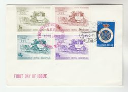 1971 GB Postal STRIKE COVER 5p 10p 40p 50p  SSS Safe SPEEDY SERVICE Label FDC Great Britain BELGIUM Heraldic Lion Stamps - Cinderellas