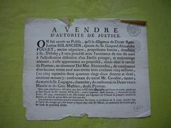 Afichette 1810 Adjudication Vente D'autorité De Justice Dame Rose-Justine Solancier Hérault St Thibéry Pézenas - Affiches