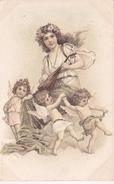 CPA Jeune Femme Cythare Lady Fraü Donna Ange Angelot Angel  Vienne A & M.B. N° 223 Viennoise Illustrateur (2 Scans) - Künstlerkarten