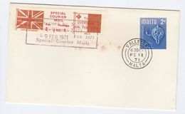 1971 COVER MALTA Stamps GB POSTAL STRIKE COURIER MAIL LABEL Great Britain - Malta