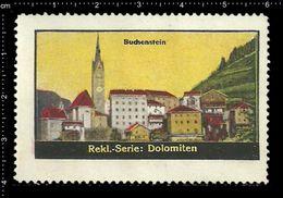 German Poster Stamp, Reklamemarke, Cinderellas, Dolomiten, Dolomites, Gebirge, Mountain Range, Berg, Buchenstein - Churches & Cathedrals