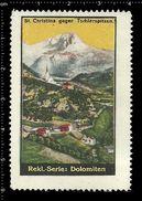 German Poster Stamp, Reklamemarke, Cinderellas, Dolomiten, Dolomites, Gebirge, Mountain Range, Berg, St. Christina - Erinnophilie