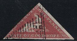 CAP DE BONNE-ESPERANCE - TRIANGULAIRE - N°1 - 1p ROUGE SIGNATURE CALVES - COTE 275€ - TIMBRE COURT D'UN COTE (R). - Cape Of Good Hope (1853-1904)