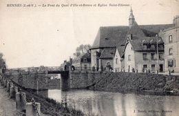 CPA Peu Fréquente - 35 - RENNES - Le Pont Du Quai D'Ille-et-Rance Et Eglise Saint-Etienne - J. Sorel, Editeur - Rennes