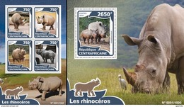 Centrafrica 2016, Animals, Rhinocerons, 4val In BF +BF - Rhinozerosse