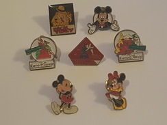 Disney - Lot De 7 Pins Différents - Dick Tracy - EuroDisney - Kodak - Mickey - Minnie - Fée Clochette - Peter Pan - Disney