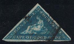 CAP DE BONNE-ESPERANCE - TRIANGULAIRE - N°2 - 4p BLEU SIGNATURE CALVES - COTE 150€ - TIMBRE COURT D'UN COTE (R). - Cape Of Good Hope (1853-1904)