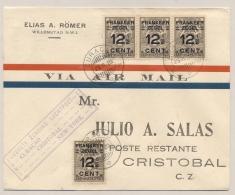 Curacao - 1929 - 4x 12,5 Cent Opdrukzegel Op First Flight Cover From Willemstad To Cristobal / Canal Zone - Curacao, Netherlands Antilles, Aruba
