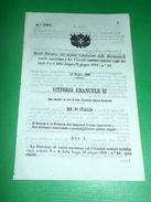 Regno D' Italia Regio Decreto Abolizione Direzioni Sanità Marittima 1866 - Vecchi Documenti