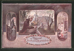 CPA Illustrateur Mozart Lässt Euch Grüssen - Artiesten