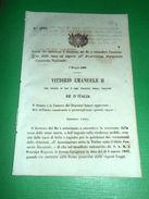 Regno D'Italia Legge Esenzione Tasse Consorzio Nazionale 1866 - Vecchi Documenti