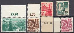 BADEN - GERMANIA OCCUPAZIONE FRANCESE - 1947/1948 -  Lotto 4 Valori Nuovi MNH Yvert 2, 8, 9 E 12 Con Margini Di Foglio. - Zone Française